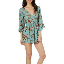 Angie Juniors Floral Ruffle Sleeve Faux Wrap Romper
