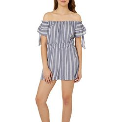 Angie Juniors Striped Off The Shoulder Romper
