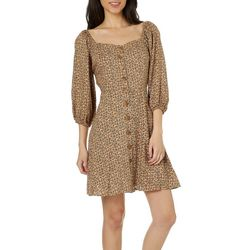 Angie Juniors Leopard Print Balloon Sleeve Button Down Dress