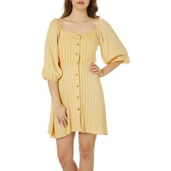 Angie Juniors Striped Balloon Sleeve Button Down Dress