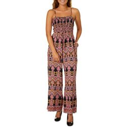 Angie Juniors Lace-Up Smocked Bodice Wide Leg Jumpsuit