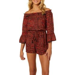 Angie Juniors Leopard Off The Shoulder Elastic Waist Romper