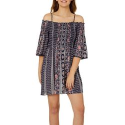 Angie Juniors Boho Striped Cold Shoulder Dress