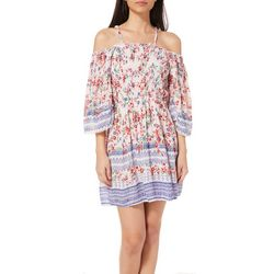 Angie Juniors Floral Border Print Cold Shoulder Dress
