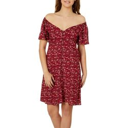 Angie Juniors Floral Button Down Off The Shoulder Dress