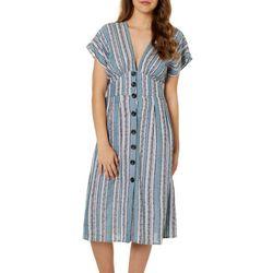 Angie Juniors Striped Button Down Midi Dress