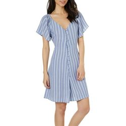 Angie Juniors Pin Striped Button Down Dress