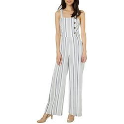 Angie Juniors Stripe Print Embellished Button Jumpsuit