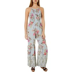 Juniors Floral Print Wide Leg Jumpsuit