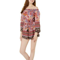 Angie Juniors Abstract Floral Off The Shoulder Romper