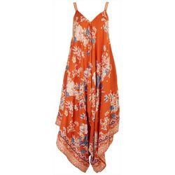 Angie Juniors Asymmetric Floral Scarf Jumpsuit