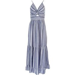 Angie Juniors Striped Maxi Dress With Front Knot