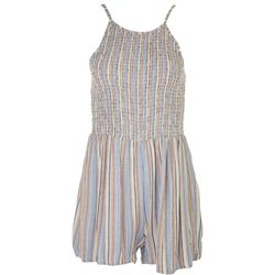 Angie Juniors Smocked Bodice Striped Romper