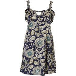 Angie Juniors Floral Print Dress with Tie Detail