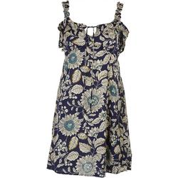Juniors Floral Print Dress with Tie Detail