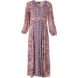 Juniors Long Sleeve Floral Print Maxi Dress