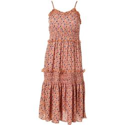 Angie Juniors Smocked Floral Midi Dress