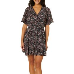 Angie Juniors Faux Wrap Floral Print Short Sleeve Dress