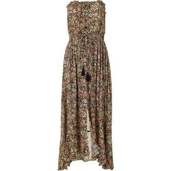 LUSH Womens Floral Buttoned Tassel Dress