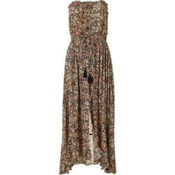 Womens Floral Buttoned Tassel Dress