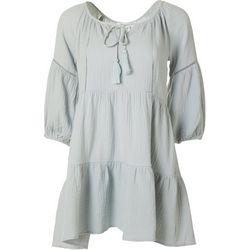 Juniors 3/4 Sleeve Solid Dress
