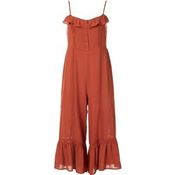 LUSH Juniors Solid Ruffle Bottom Jumpsuit