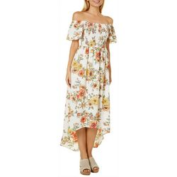 Bailey Blue Juniors Floral Off The Shoulder High-Low Dress