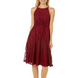 Bailey Blue Juniors High Neck Lace Fit & Flare Dress