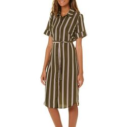 Bailey Blue Juniors Belted Striped Button Down Dress