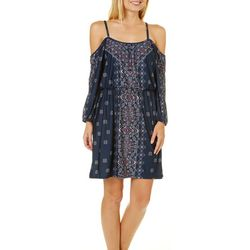 Bailey Blue Juniors Medallion Print Cold Shoulder Dress