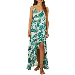 Bailey Blue Juniors Ruffle Tropical Palm Leaf Print Sundress
