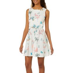 Bailey Blue Juniors Flamingo Palm Tree Print Dress
