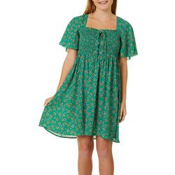Bailey Blue Juniors Smocked Bodice Floral Print Dress