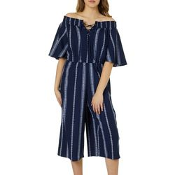 Bailey Blue Juniors Boho Striped Off The Shoulder Jumpsuit