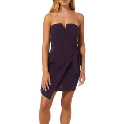 Bailey Blue Juniors Solid Strapless Faux Wrap Dress