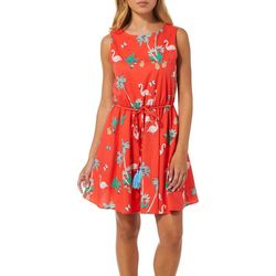 Juniors Flamingo Palm Tree Print Dress