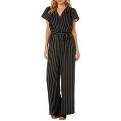 Bailey Blue Juniors Belted Striped Faux-Wrap Jumpsuit