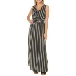 Bailey Blue Juniors Striped Lace-Up Maxi Dress