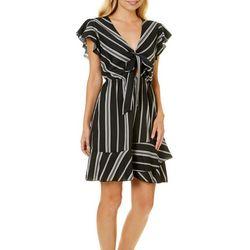 Bailey Blue Juniors Striped Tie Front Ruffle Dress