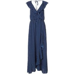 Bailey Blue Juniors Polka Dot Print Open Back Maxi Dress