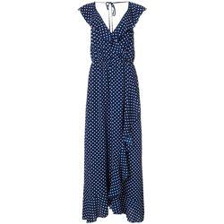 Bailey Blue Juniors Polka Dot Print Open Back Maxi Dress