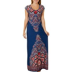 Juniors Floral Print Open Back Maxi Dress
