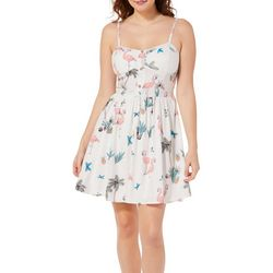 Bailey Blue Juniors Flamingo Butterfly Print Sundress