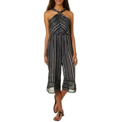 Bailey Blue Juniors Striped High-Neck Gaucho Romper