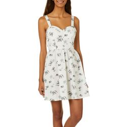 Juniors Elephant Palm Tree Print Sundress