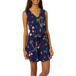 Bailey Blue Juniors Flamingo Print Front Lace-Up Sundress