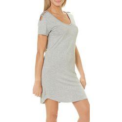 Glitz Juniors Solid Caged Shoulder T-Shirt Dress
