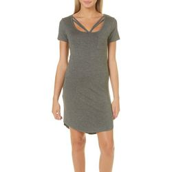 Glitz Juniors Solid Caged Neck T-Shirt Dress