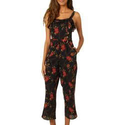 Speechless Juniors Ruffle Neckline Chain Print Jumpsuit