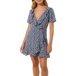 Speechless Juniors Floral Print Button Down Wrap Dress